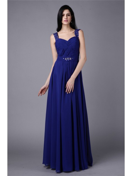A-Line/Princess Straps Chiffon Dress