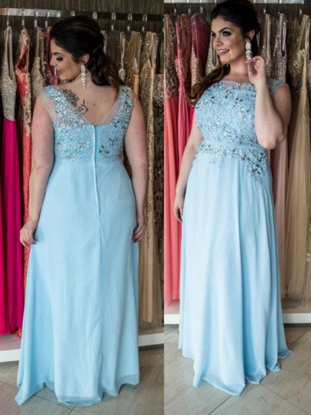 A-Line/Princess Bateau Beading Floor-Length Chiffon Plus Size Dress