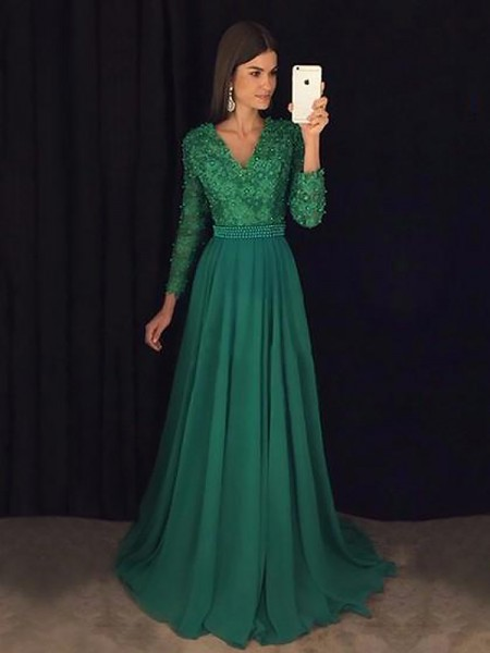 A-Line/Princess V-Neck Long Sleeves Sweep/Brush Train Lace Chiffon Prom Gowns