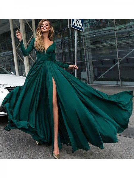 A-Line/Princess V-Neck Long Sleeves Floor-Length Ruffles Satin Chiffon Prom Gowns