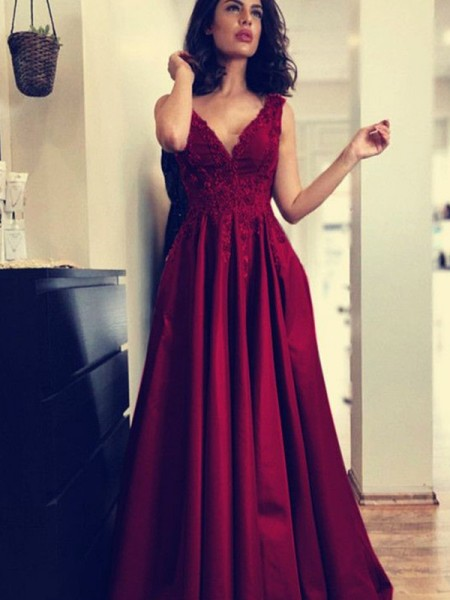 A-Line/Princess V-neck Sleeveless Applique Sweep/Brush Train Ruched Satin Dresses
