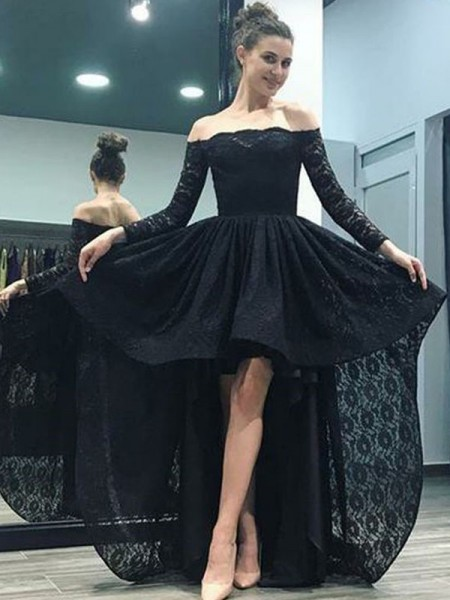 A-Line/Princess Off-the-Shoulder Long Sleeves Sweep/Brush Train Asymmetrical Dresses with Lace