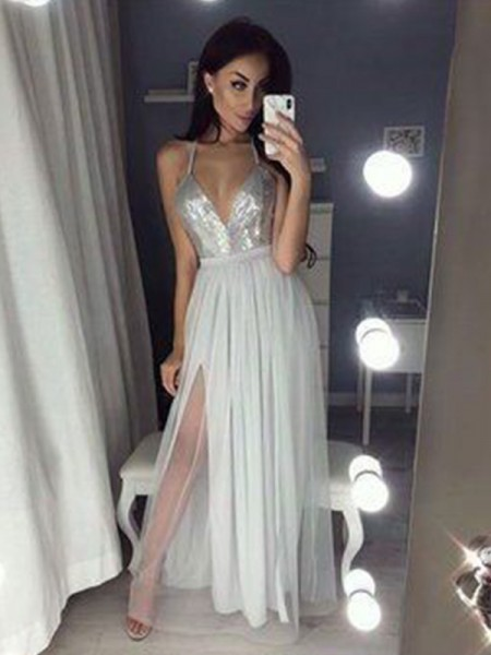 A-Line/Princess Straps V-neck Sleeveless Ruched Beading Floor-Length Dresses with Chiffon