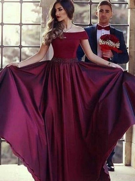 A-Line/Princess Off-the-Shoulder Short Sleeves Sweep/Brush Train Ruched Satin Dresses