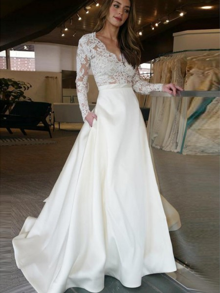 A-Line/Princess Long Sleeves Sweep/Brush V-neck Applique Train Satin Wedding Dresses