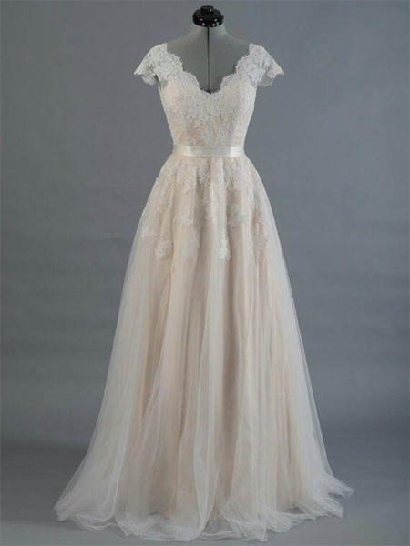 A-Line/Princess V-neck Sleeveless Sweep/Brush Train Applique Lace Wedding Dresses