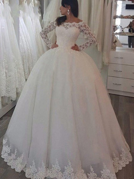 Ball Gown Long Sleeves Sweep/Brush Train Off-the-Shoulder Applique Lace Wedding Dresses