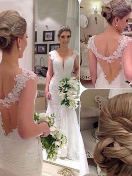 Trumpet/Mermaid Sleeveless V-neck Sweep/Brush Train Applique Lace Tulle Wedding Dresses