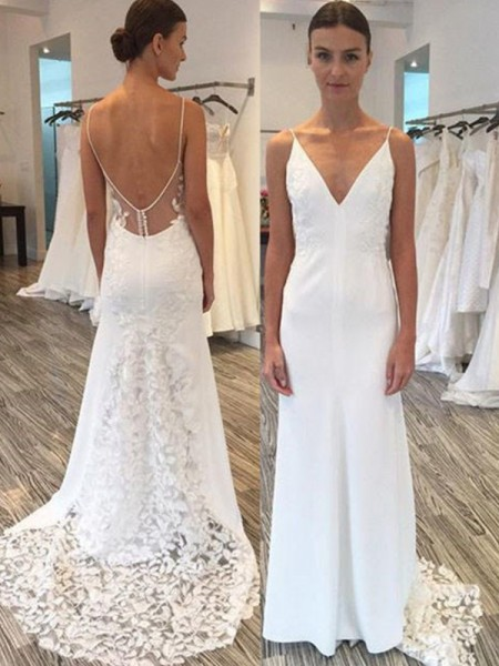 Sheath/Column Lace Spaghetti Straps Sleeveless Satin Sweep/Brush Train Wedding Dresses