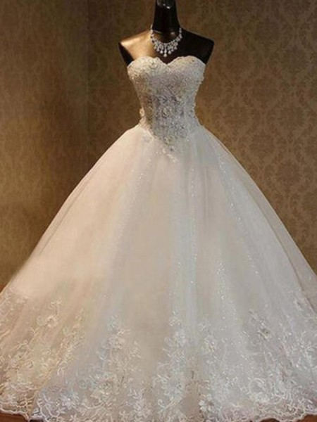 Ball Gown Tulle Beading Floor-Length Sweetheart Sleeveless Wedding Dresses