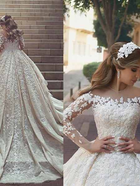 Ball Gown Satin Sleeves Applique Scoop Long Chapel Train Wedding Dresses