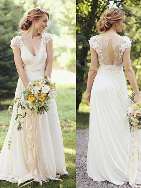 A-Line/Princess V-neck Chiffon Ruched Short Sleeves Sweep/Brush Train Wedding Dresses