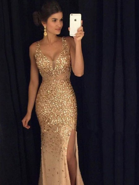 Column V-neck Sequin Sweep/Brush Train Jersey Prom Gown