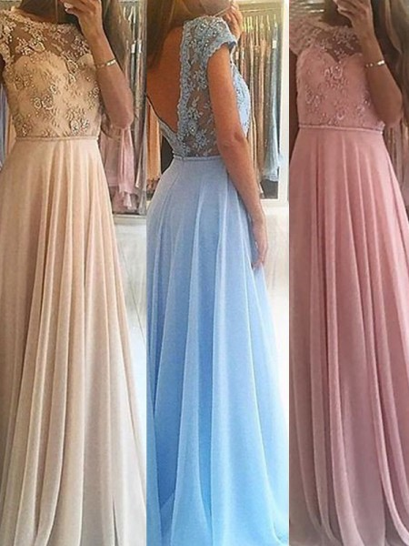 A-Line/Princess Scoop Floor-Length Chiffon Dress