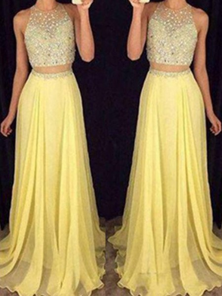A-Line/Princess Scoop Floor-Length Chiffon Two Piece Dress