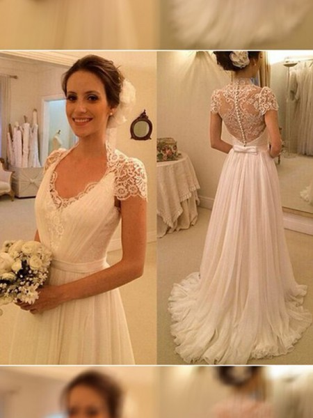 A-Line/Princess V-neck Sweep/Brush Train Lace Chiffon Wedding Dress