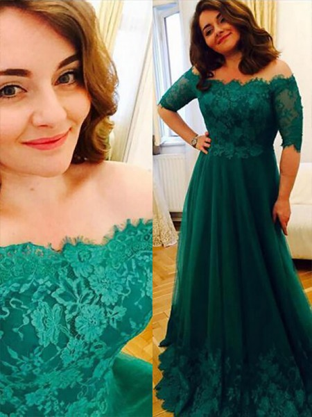 A-Line/Princess Tulle Off-the-Shoulder Applique Floor-Length Plus Size Dress