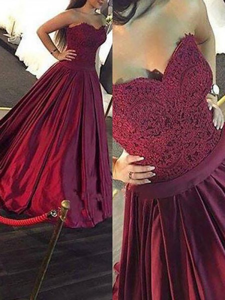 Ball Gown Sweetheart Floor-Length Satin Dress with Lace