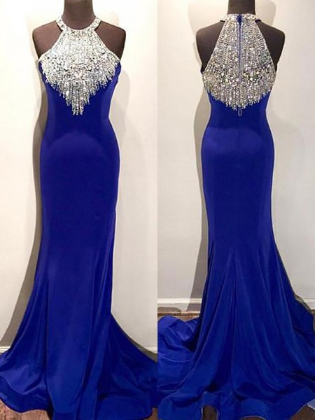 Trumpet/Mermaid Halter Sleeveless Sweep/Brush Train Beading Spandex Prom Gowns