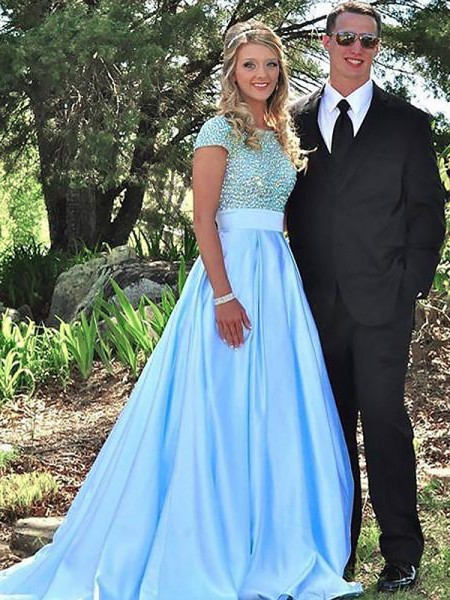 A-Line/Princess Bateau Short Sleeves Sweep/Brush Train Beading Satin Prom Gowns