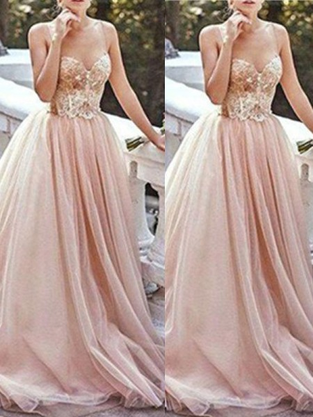 A-Line/Princess Sweetheart Sweep/Brush Train Tulle Dress