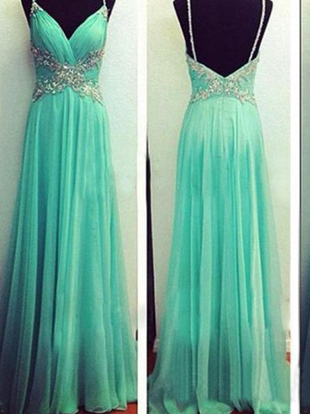 Princess Spaghetti Straps Beading Floor-Length Chiffon Evening Dress
