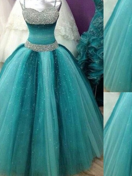 Ball Gown Spaghetti Straps Tulle Floor-Length Dress