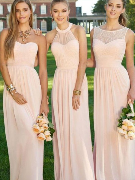 A-Line/Princess Floor-Length Ruched Chiffon Bridesmaid Dress