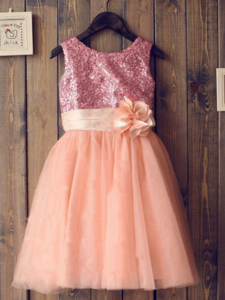 Cute Princess Scoop Sleeveless Sequin Knee-Length Tulle Girl Dress