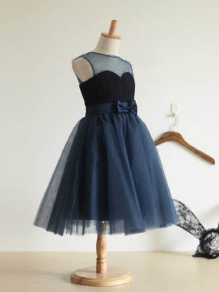 Cute Ball Gown Jewel Sleeveless Bowknot Tea-length Tulle Girl Dress