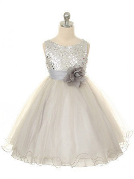 Ball Gown Jewel Sleeveless Hand-Made Flower Tea-length Organza Girl Dress